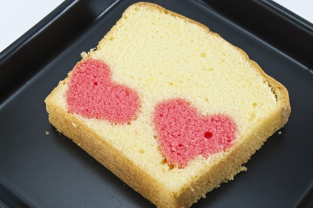 two heart in a butter cake photo