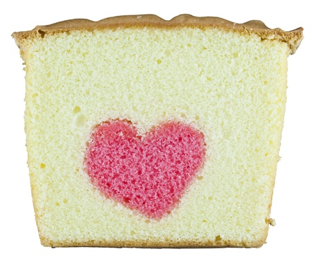 a heart in a butter cake