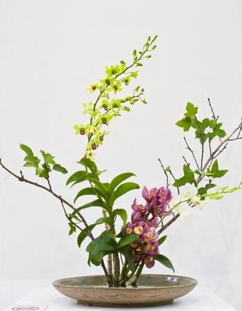 IKEBANA : japanese flower arrangement with Thai flower by Chiang Mai ikebana club in The international Horticultural Exposition Royal Flora Ratchaphruek 2011,Chiang Mai, Thailand Editorial