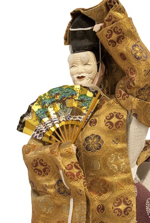 noh: Noh ningyo doll : A japanese doll of a funny old man with his japanese mask
