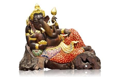isolated of wood carving ganesha Stock Photo