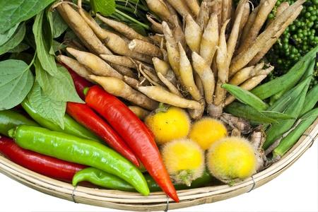 homegrown: basket of thai homegrown vegetable