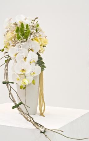 floral arrangement: white flower arrangement for wedding bouquet Stock Photo
