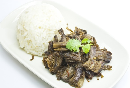 stipe: vegetarian fried meat  shitake mushroom s stipe  with sticky rice in thailand