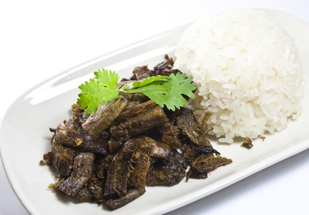 vegetarian fried meat  shitake mushroom s stipe  with sticky rice in thailand Stock Photo - 13043113