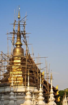 chedi renovation in a thai temple photo