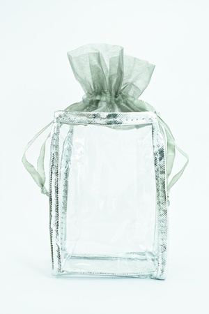 beautiful transparent purse string gift bag Stock Photo