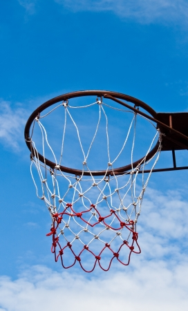 basketball hoop against blue sky photo