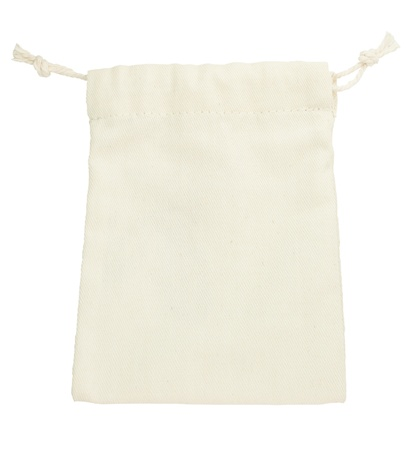 isolated purse string cotton bag on white background  with path  photo