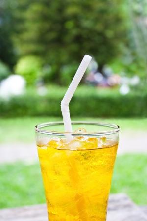 iced chrysanthemum tea  flower tea  on wooden table photo