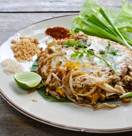 vegetarian thai food : stir-fried rice noodles (Pad Thai) photo