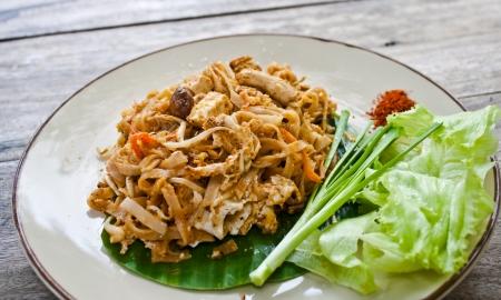 vegetarian thai food-stir-fried rice noodles (Pad Thai) Stock Photo