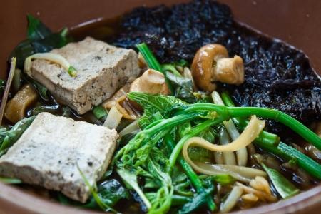 thai noodle soup: herbal noodle,vegetarian thai noodle soup Stock Photo
