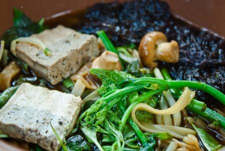 herbal noodle,vegetarian thai noodle soup Stock Photo