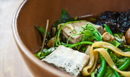 herbal noodle,vegetarian thai noodle soup photo