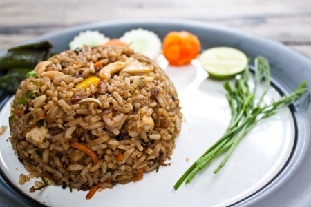 herbal fried rice  curry flavor  - vegetarian thai food, healthy food photo