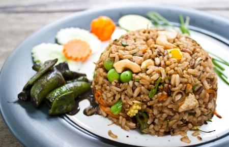 herbal fried rice  curry flavor  - vegetarian thai food, healthy food