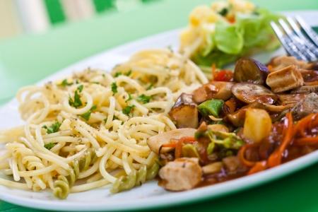 cow pea: spaghetti and tomato sauce with herb, mushrooom, vegetable-healthy food  vegetarian food