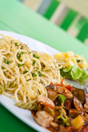 spaghetti and tomato sauce with herb, mushrooom, vegetable-healthy food  vegetarian food  photo