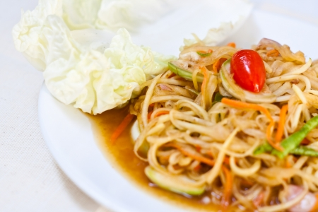 vegetarian thai food : vegetarian papaya salad (somtum) photo