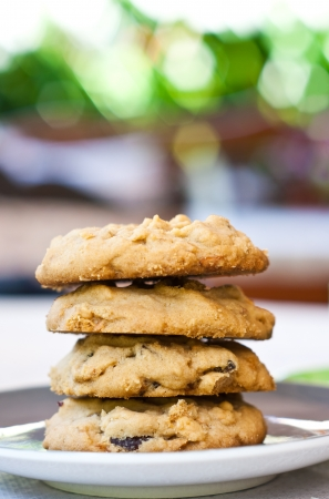 soft cookies with cashew nut and rasin in coffee time or tea time photo