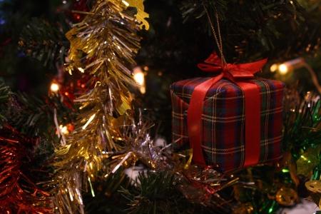 gift box on christmas tree