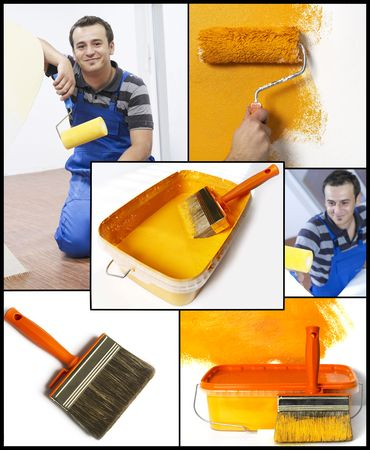 Paint tools and painter Stock Photo