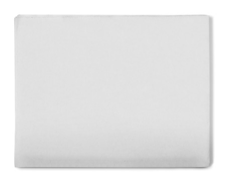 Blank grey newspaper on white background Foto de archivo