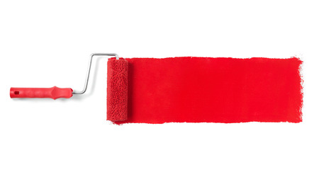 the red wall: Paint roller isolated on white Stock Photo