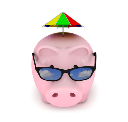 financial item: Piggy bank with sunglasses on white background