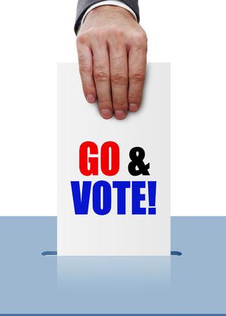 voting ballot: Hand inserting paper in voting ballot