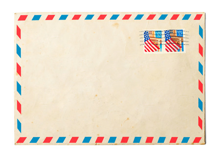 Vintage envelope on white background 스톡 콘텐츠