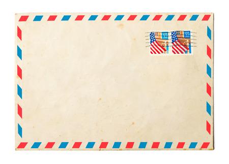 Vintage envelope on white background Archivio Fotografico