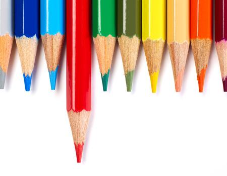 Multi-colored pencils on white background Stock Photo