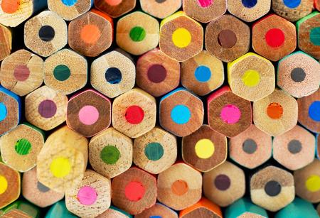 Multi-colored pencils on white background Archivio Fotografico