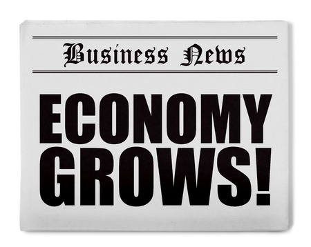 short phrase: Newspaper with headline, isolated on white Stock Photo
