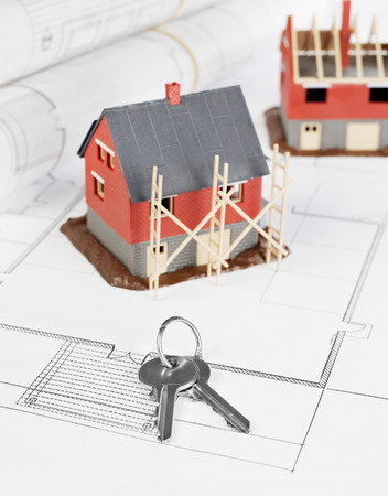 prefabricated building: Blueprints and house structure and keys