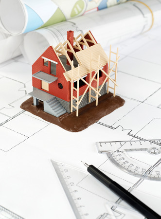 prefabricated building: Blueprints and house structure