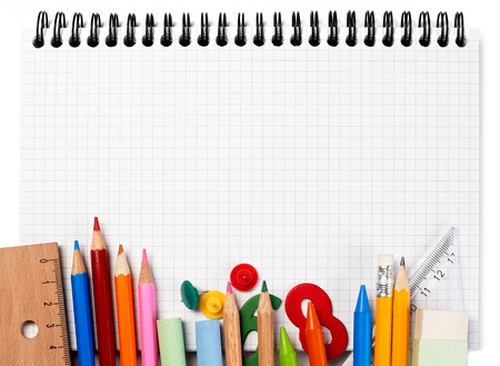 colored school: Notebook and supplies