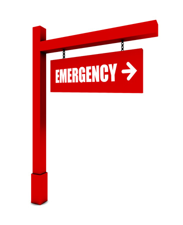 three dimensional accessibility: Emergency banner on white background Stock Photo