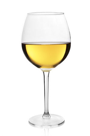 white wine glass: White wine glass on white background
