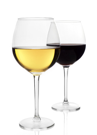 glass of red wine: Red and white wine glasses Stock Photo