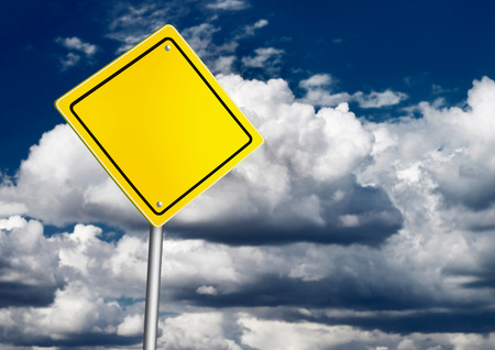 blank road sign: Safety road sign over dark sky Stock Photo