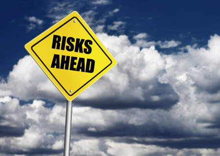 risks ahead: Risks ahead sign Stock Photo