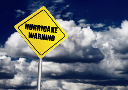 Hurricane warning road sign Banco de Imagens