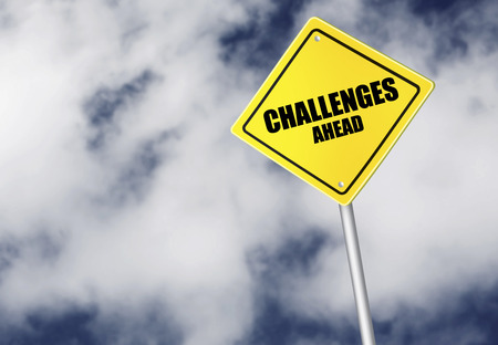challenges ahead: Challenges ahead sign Stock Photo