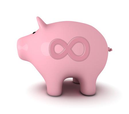 infinity symbol: Piggy bank with infinity symbol