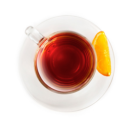 tea hot drink: Cup of tea with orange slice, isolated on white Stock Photo