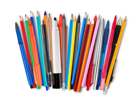 felt tip pen: Pens and pencils on white background Stock Photo
