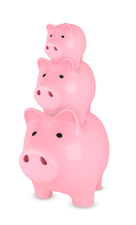 eachother: Piggy banks on top of each-other, white background Stock Photo